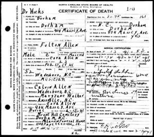 Death Certificate Fulton Allen